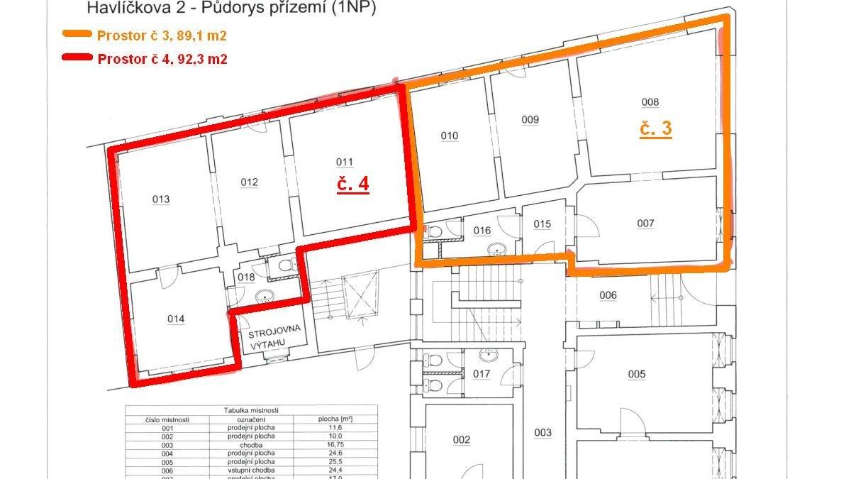 Pronájem nebytového– obchodního prostoru č. 3vadministrativní budově vChebu, Havlíčkověul.  , Cheb, Havlíčkova 1803/2