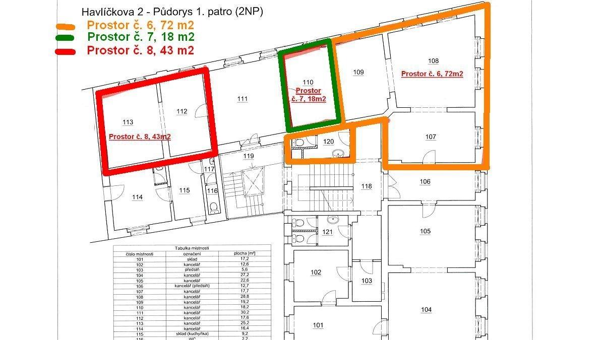 Pronájem kancelářských prostor č. 8vadministrativní budově vChebu, Havlíčkověul.  , Cheb, Havlíčkova 1803/2